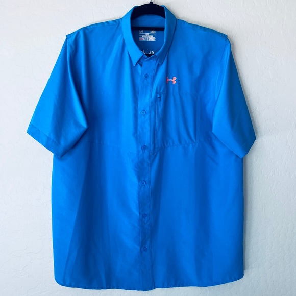 UNDER ARMOUR Men's Heat Gear Loose Shirt Blue L